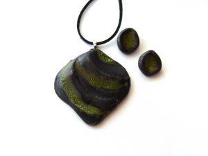 Przywieszka ceramiczna i kolczyki zielone